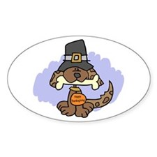 Thanksgiving Puppy Oval Decal