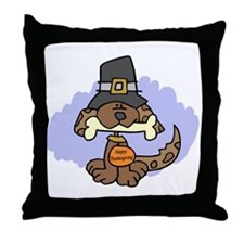 Thanksgiving Puppy Throw Pillow