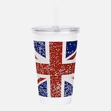Grunge British Flag Acrylic Double-wall Tumbler