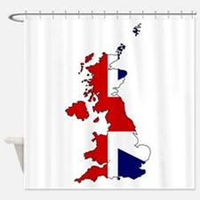 United Kingdom Map and Flag Shower Curtain