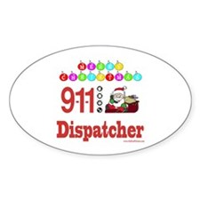 911 Dispatcher Christmas Gift Oval Decal