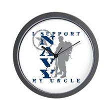 I Support Uncle 2 - NAVY Wall Clock