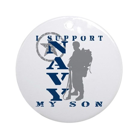I Support Son 2 - NAVY Ornament (Round)