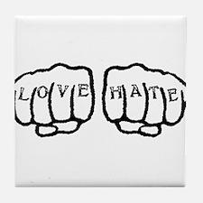 Love Hate Tattoo Tile Coaster