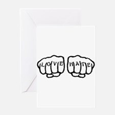 Love Hate Tattoo Greeting Cards