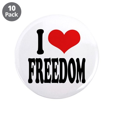 """I Love Freedom 3.5"""" Button (10 pack)"""