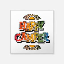 "Happy Camper Square Sticker 3"" X 3"""