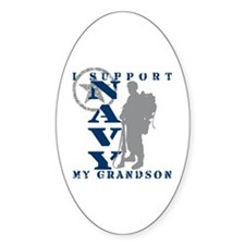 I Support Grandson 2 - NAVY Oval Decal