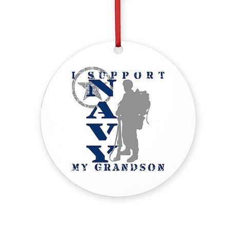 I Support Grandson 2 - NAVY Ornament (Round)