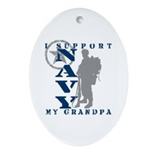 I Support Grandpa 2 - NAVY Oval Ornament