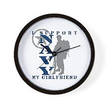 I Support Girlfriend 2 - NAVY Wall Clock