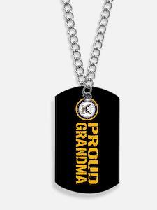 U.S. Navy: Proud Grandma (Black) Dog Tags
