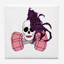 brunette female skull Tile Coaster