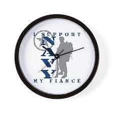 I Support Fiance 2 - NAVY Wall Clock