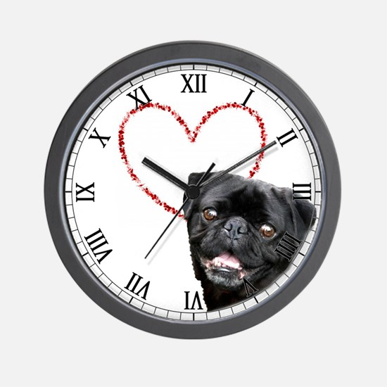Love Pug Dog Wall Clock