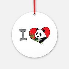 I heart pandas Ornament (Round)