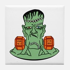 Frankenstein in dumbbells Tile Coaster