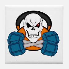Skull love's weights Tile Coaster
