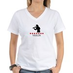Violin (red stars) Women's V-Neck T-Shirt