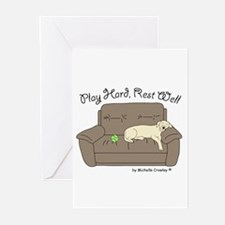 Yellow Lab - Play Hard Greeting Cards