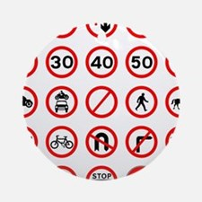 Road Traffic Signs Round Ornament