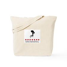 Swimming (red stars) Tote Bag