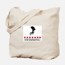 Swimming (red stars) Tote Bag