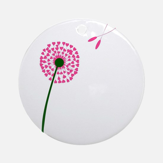 Dandelion Heart Seed Lovers Round Ornament