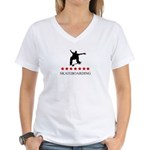 Skateboarding (red stars) Women's V-Neck T-Shirt