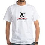 Skateboarding (red stars) White T-Shirt