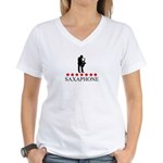 Saxaphone (red stars) Women's V-Neck T-Shirt
