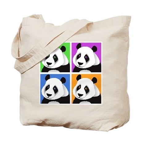 Panda Bear Squares Tote Bag