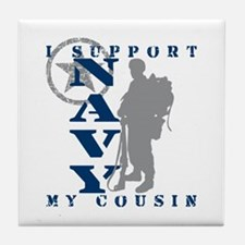 I Support Cousin 2 - NAVY Tile Coaster
