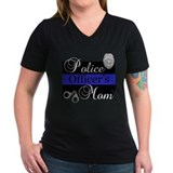 Police mom Womens V-Neck T-shirts (Dark)