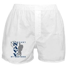 I Support Brother 2 - NAVY Boxer Shorts