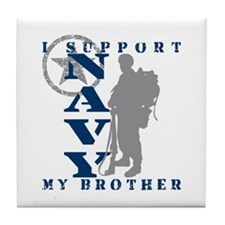 I Support Brother 2 - NAVY Tile Coaster