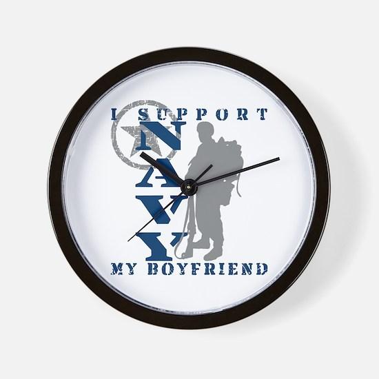 I Support Boyfriend 2 - NAVY Wall Clock