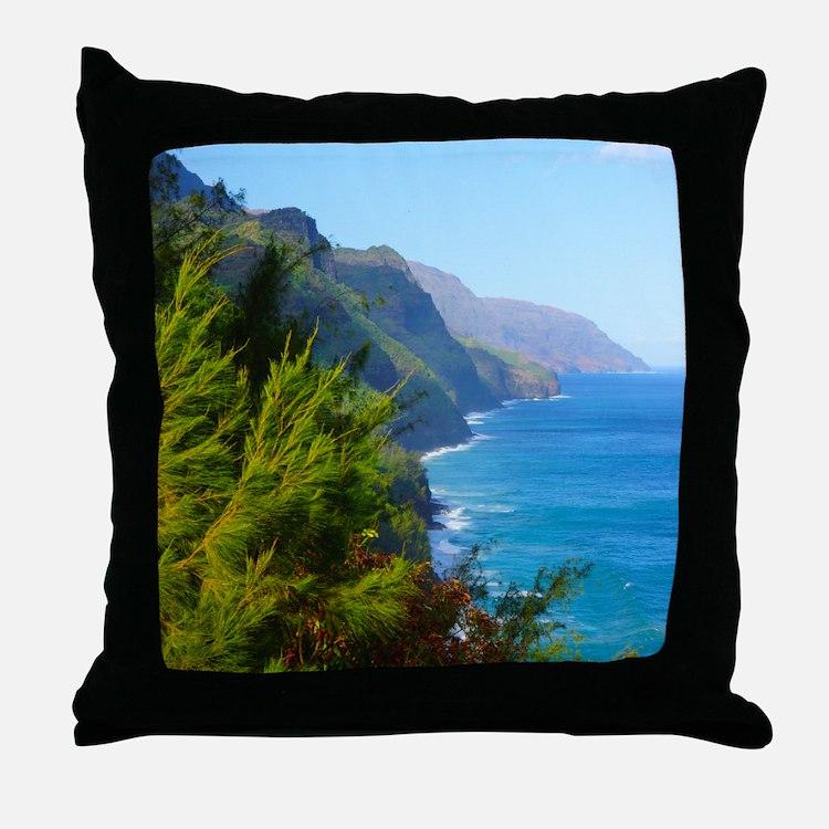 Kalalau Trail Hawaii Throw Pillow