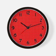 Red and White Polka Dot Wall Clock