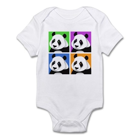 Panda Bear Squares Infant Bodysuit