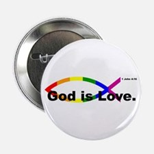 """God is Love"" bumper 10x3 2.25"" Button (100 pack)"