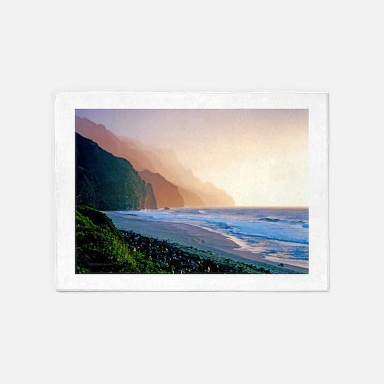Sunset Kalalau Beach 5'x7'Area Rug