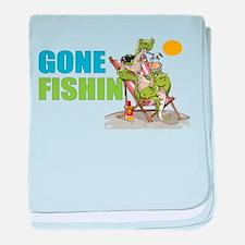 Gone Fishin Alligator in Beach Chair baby blanket