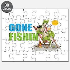 Gone Fishin Alligator in Beach Chair Puzzle