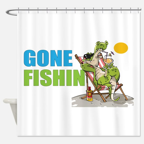 Gone Fishin Alligator in Beach Chair Shower Curtai