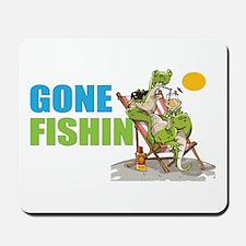 Gone Fishin Alligator in Beach Chair Mousepad