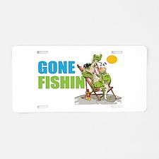 Gone Fishin Alligator In Aluminum License Plate
