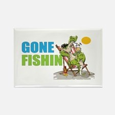 Gone Fishin Alligator in Beach Chair Magnets