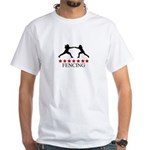Fencing (red stars) White T-Shirt