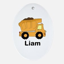 Liam's Dump Truck Oval Ornament
